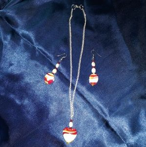 Jewelry - Sunset Millefiori glass heart necklace & earrings